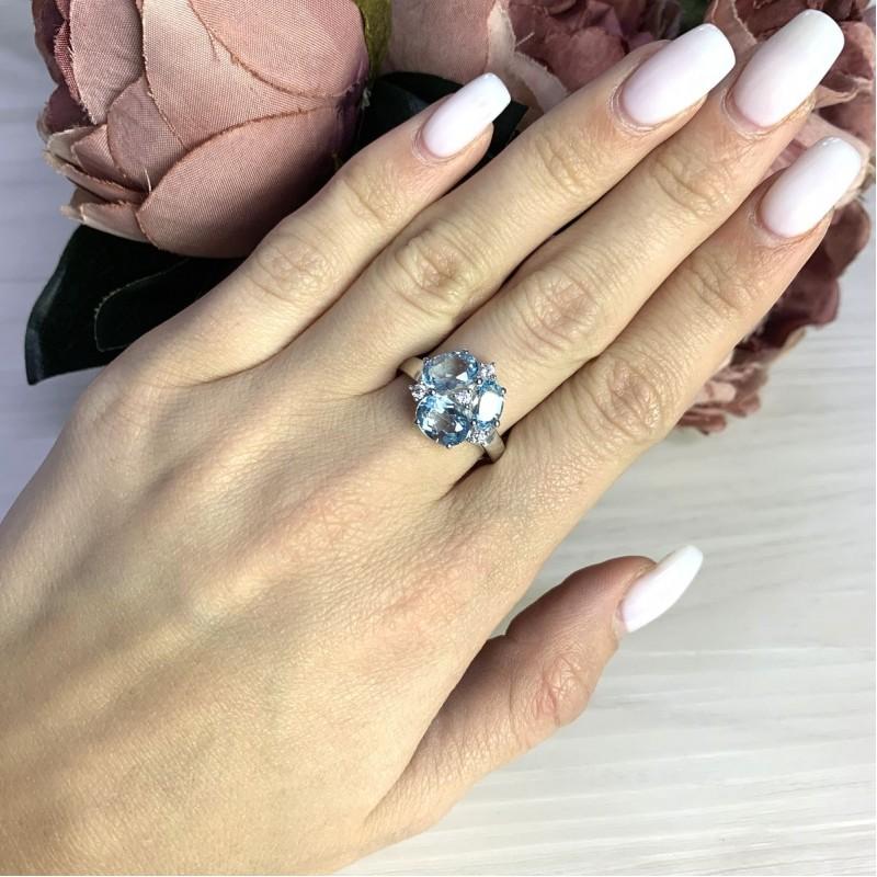 Серебряное кольцо SilverBreeze с натуральным топазом 4.13ct (2049739) 17 размер