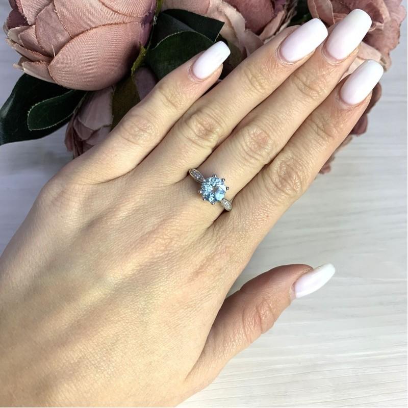 Серебряное кольцо SilverBreeze с натуральным топазом 2.37ct (2049241) 18 размер
