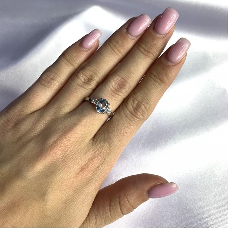 Серебряное кольцо SilverBreeze с натуральным топазом 1.47ct (2049180) 17.5 размер