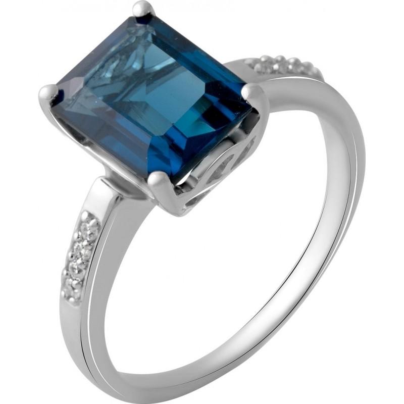 Серебряное кольцо SilverBreeze с натуральным топазом Лондон Блю 2.995ct (2048992) 18 размер