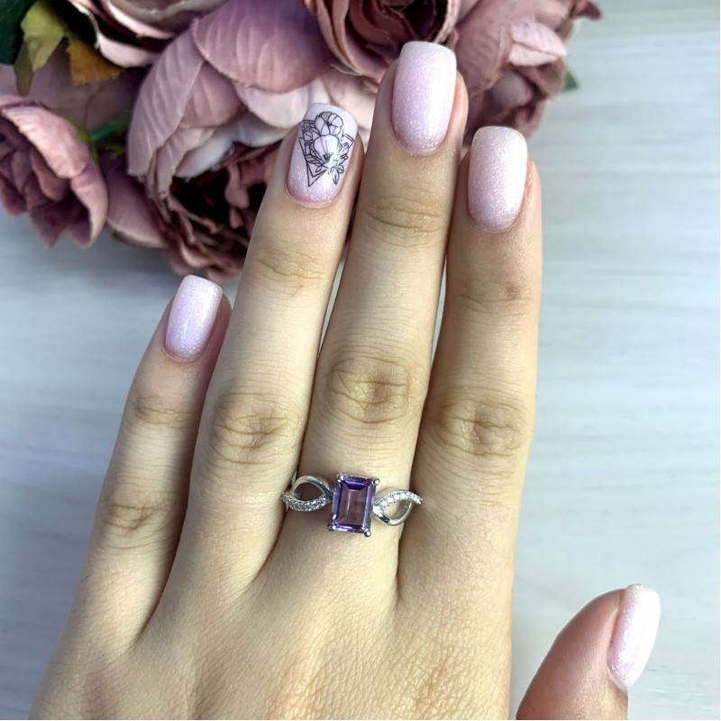 Серебряное кольцо SilverBreeze с натуральным аметистом 1.43ct (2048916) 17.5 размер