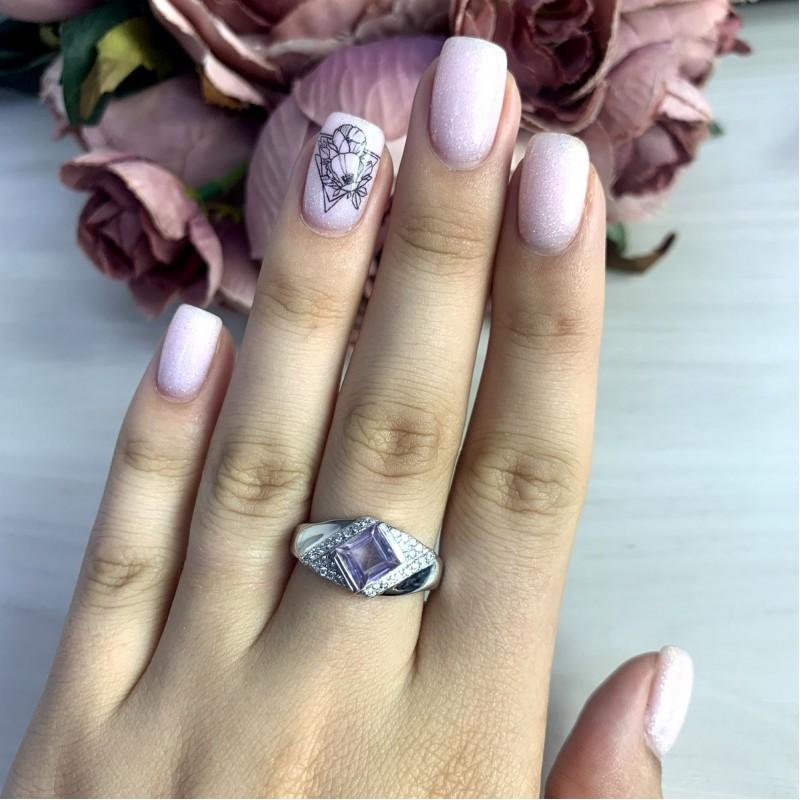 Серебряное кольцо SilverBreeze с натуральным аметистом 1.09ct (2048770) 18 размер