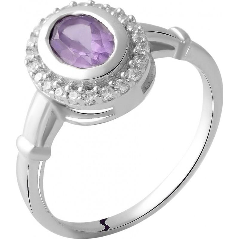 Серебряное кольцо SilverBreeze с натуральным аметистом 0.7ct (2048732) 17.5 размер