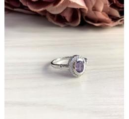 Серебряное кольцо SilverBreeze с натуральным аметистом 0.7ct (2048732) 18 размер