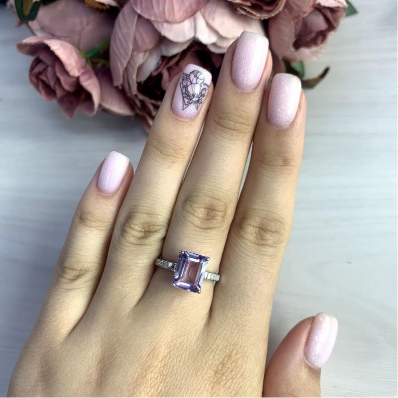 Серебряное кольцо SilverBreeze с натуральным аметистом 2.8ct (2048633) 17.5 размер