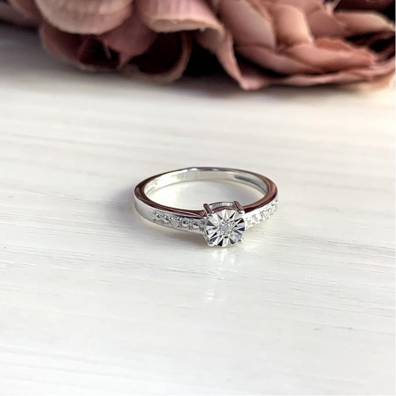 Серебряное кольцо SilverBreeze с натуральными бриллиантом 0.027ct (2048565) 18 размер