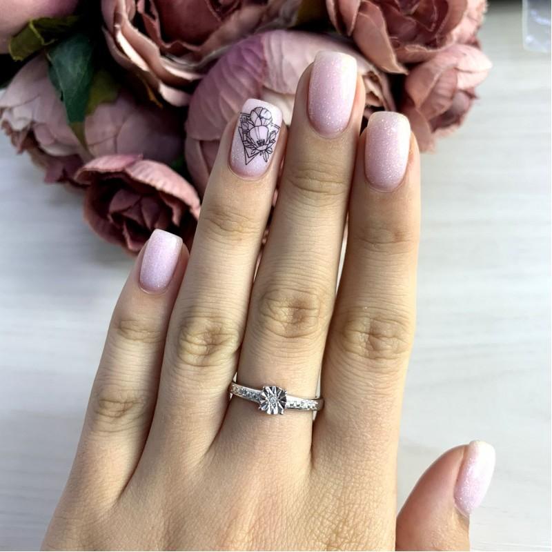 Серебряное кольцо SilverBreeze с натуральными бриллиантом 0.027ct (2048565) 19 размер