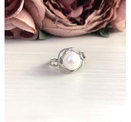 Серебряное кольцо SilverBreeze с натуральным жемчугом (2044017) 17 размер