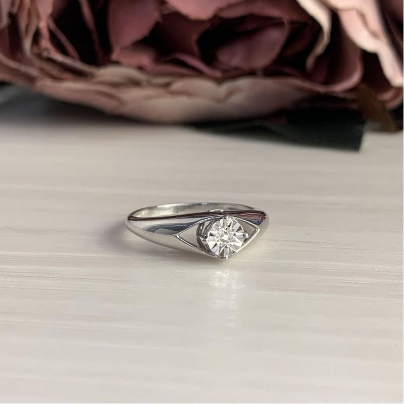 Серебряное кольцо SilverBreeze с натуральными бриллиантом 0.01ct (2043751) 16 размер