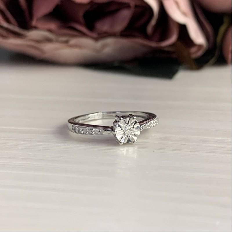Серебряное кольцо SilverBreeze с натуральными бриллиантом 0.027ct (2043645) 18 размер