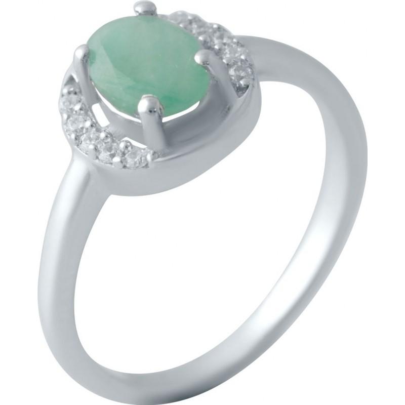 Серебряное кольцо SilverBreeze с натуральным изумрудом 0.76ct (2043423) 17 размер