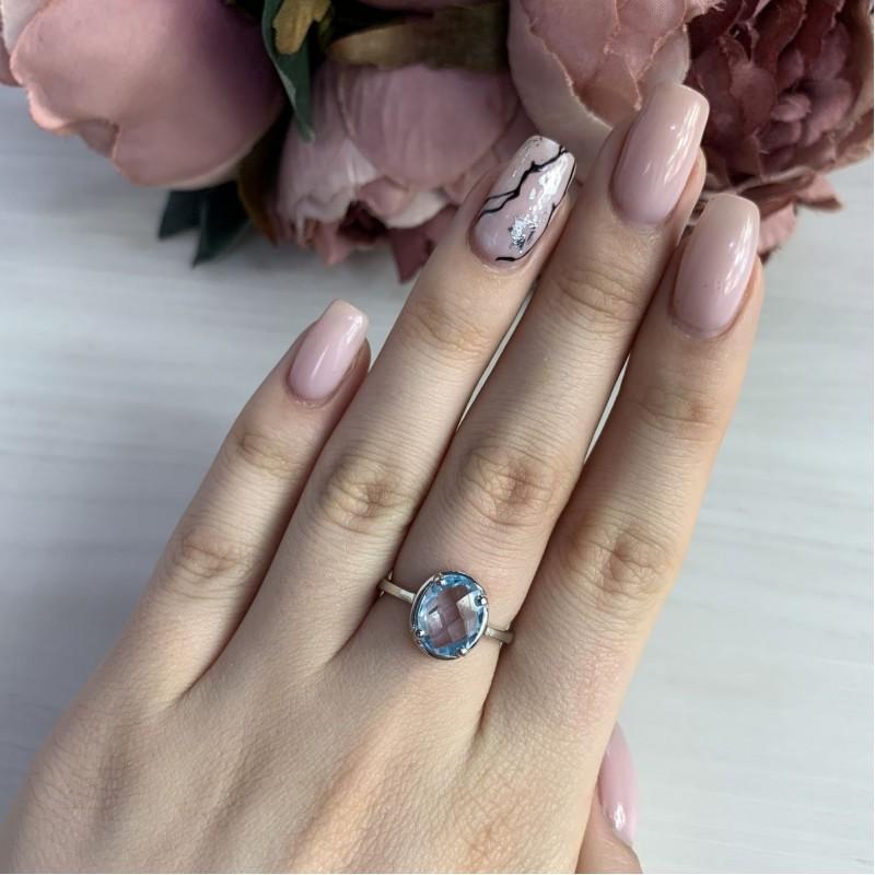 Серебряное кольцо SilverBreeze с натуральным топазом 2.76ct (2042525) 18 размер