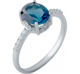 Серебряное кольцо SilverBreeze с натуральным топазом Лондон Блю 1.98ct (2041207) 17.5 размер