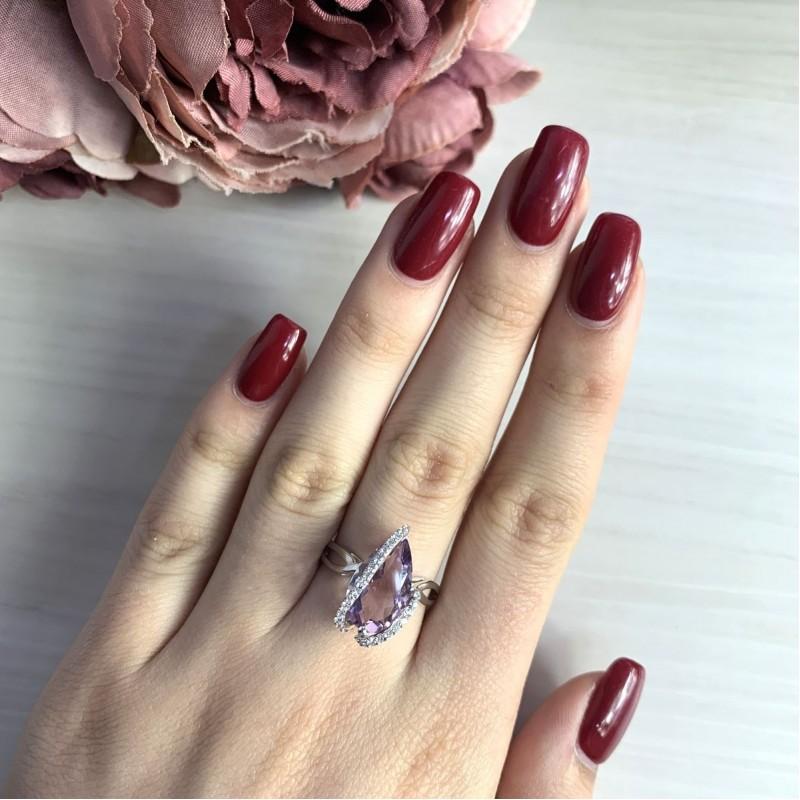 Серебряное кольцо SilverBreeze с натуральным аметистом 4.455ct (2034469) 17 размер