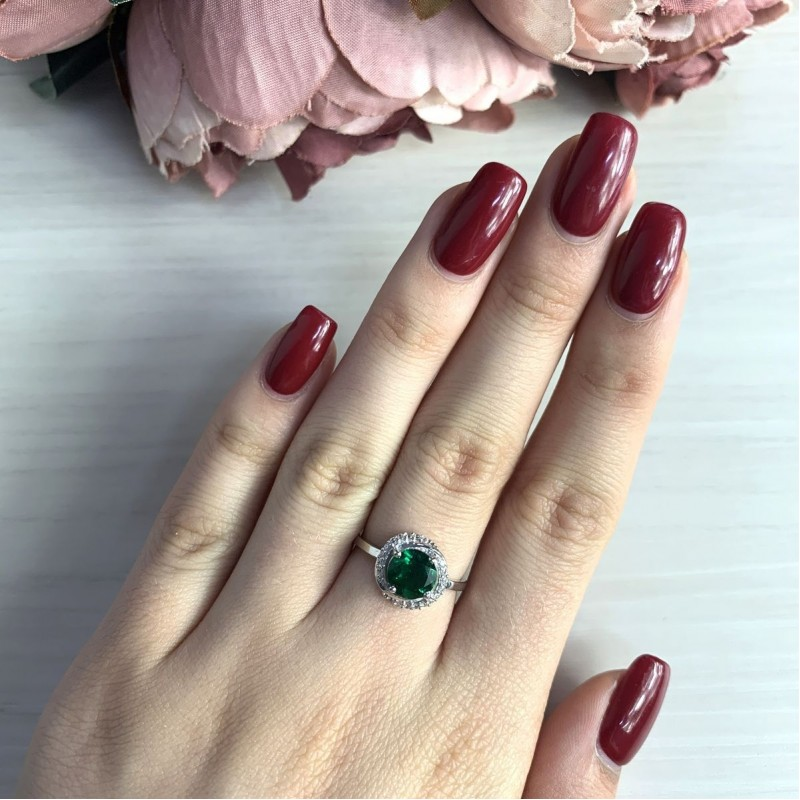 Серебряное кольцо SilverBreeze с изумрудом nano 1.208ct (2034179) 17 размер
