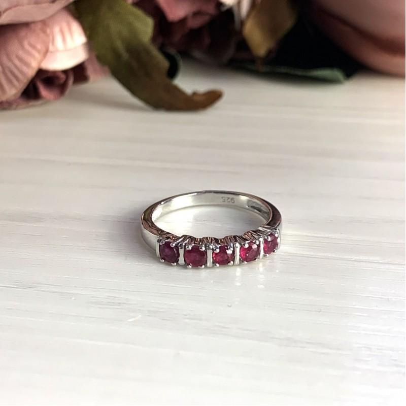 Серебряное кольцо SilverBreeze с натуральным рубином (2027881) 17.5 размер