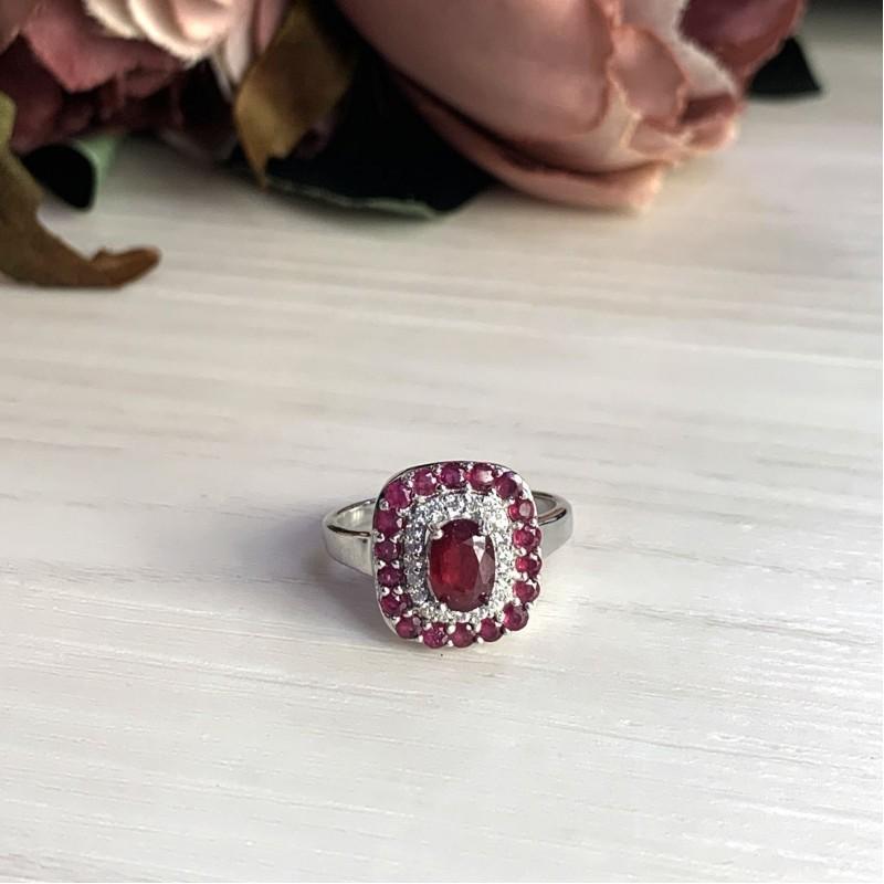 Серебряное кольцо SilverBreeze с натуральным рубином 2.2ct (2027751) 17 размер