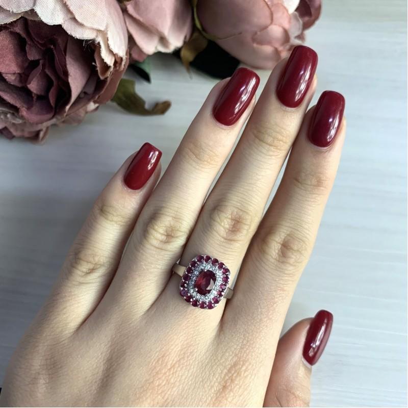 Серебряное кольцо SilverBreeze с натуральным рубином 2.2ct (2027751) 18.5 размер