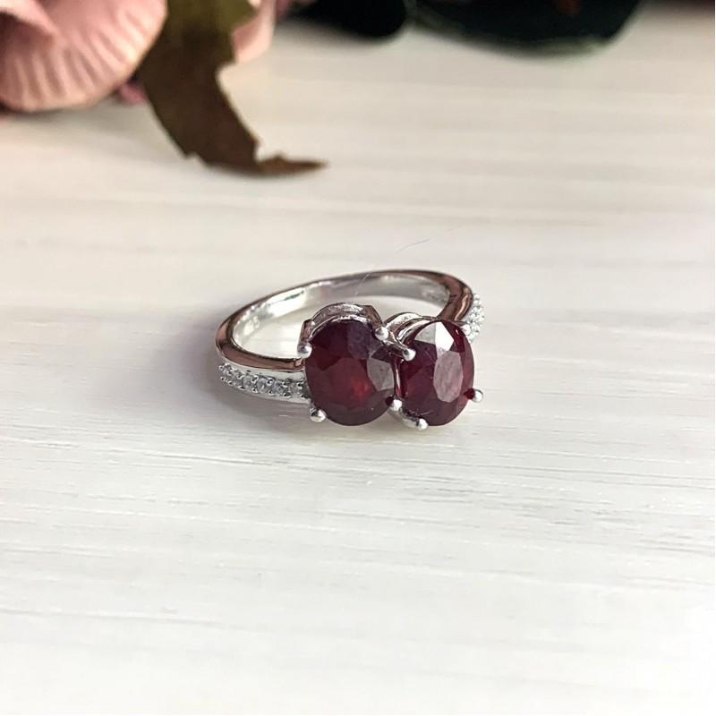 Серебряное кольцо SilverBreeze с натуральным рубином (2027737) 17.5 размер