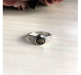 Серебряное кольцо SilverBreeze с натуральным раухтопазом (димчатим кварцем) (2025351) 17 размер