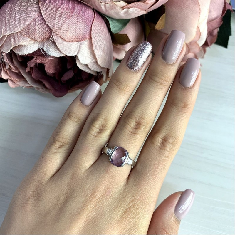 Серебряное кольцо SilverBreeze с натуральным аметистом 2.51ct (2020578) 19 размер