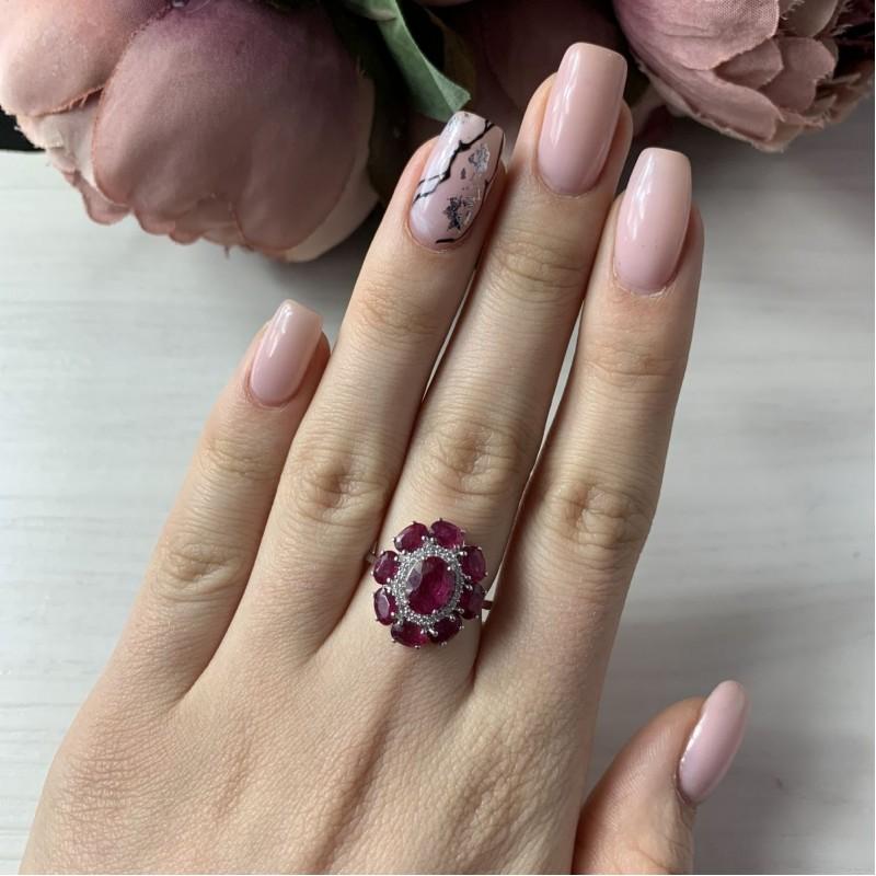 Серебряное кольцо SilverBreeze с натуральным рубином 4.126ct (2009948) 17.5 размер