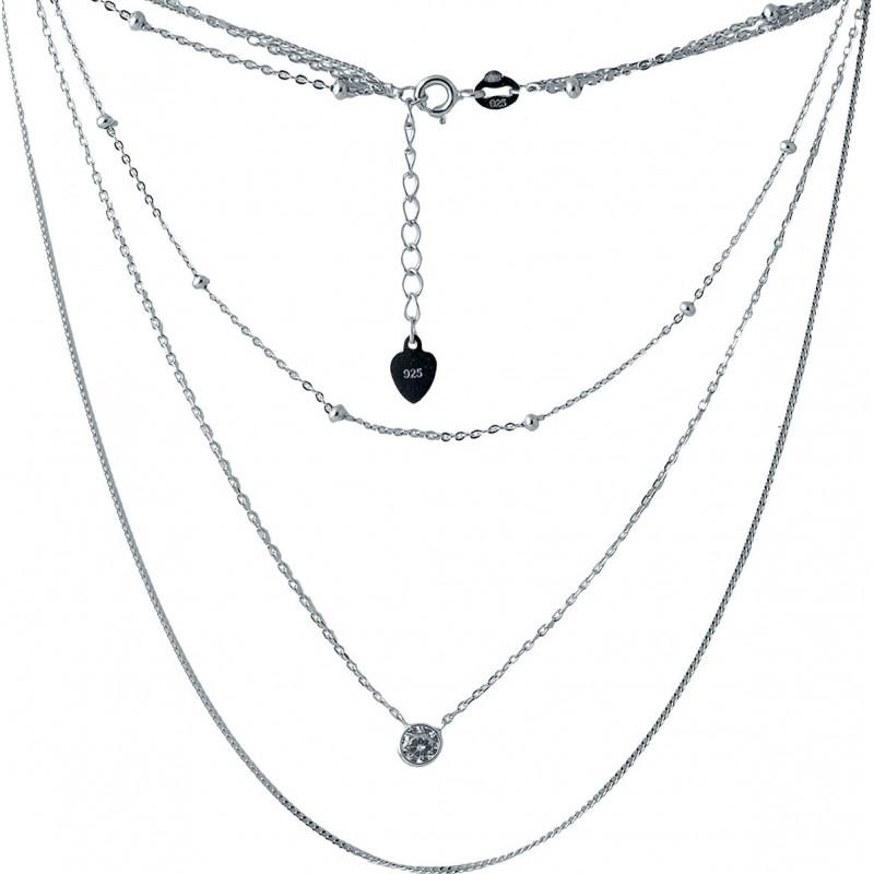 Серебряное колье SilverBreeze с фианитами (2005780) 480 размер