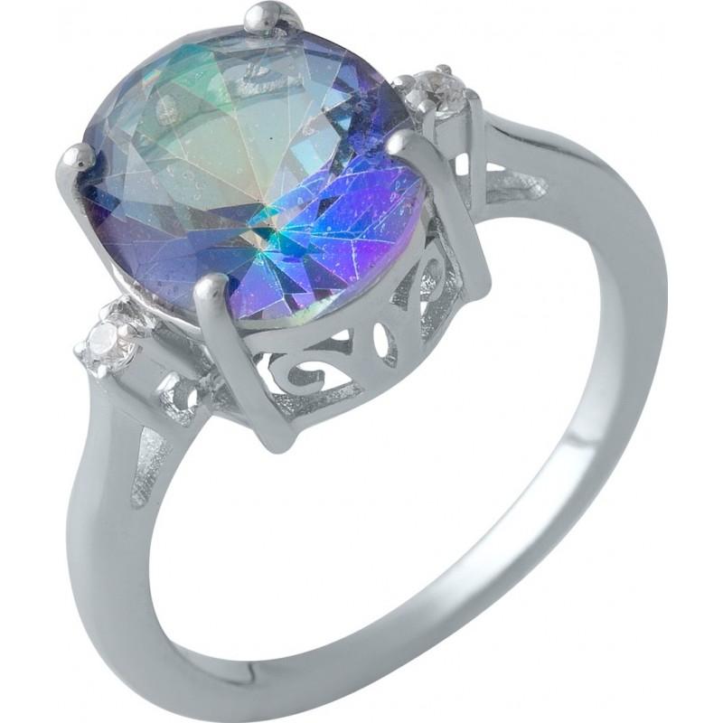 Серебряное кольцо SilverBreeze с натуральным мистик топазом (1997963) 18.5 размер