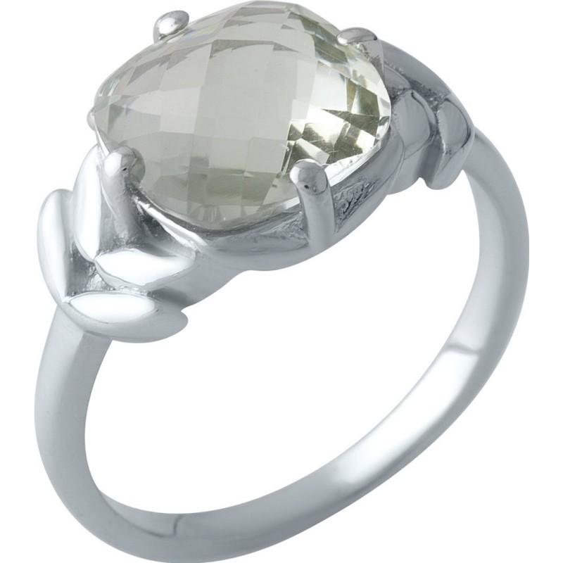 Серебряное кольцо SilverBreeze с натуральным зеленим аметистом 3.505ct (1995419) 17.5 размер
