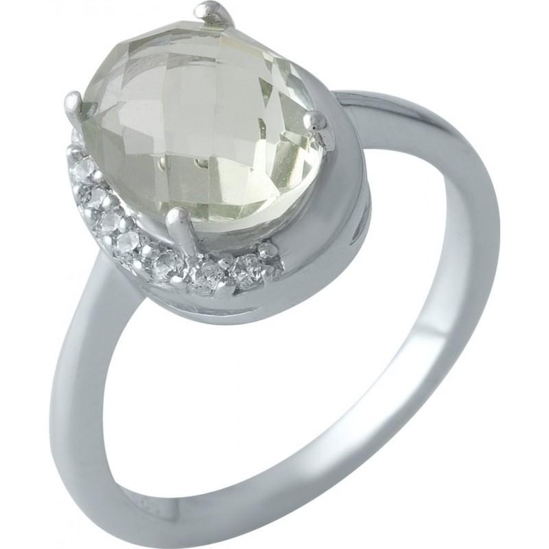 Серебряное кольцо SilverBreeze с натуральным зеленим аметистом 2.825ct (1995242) 17.5 размер
