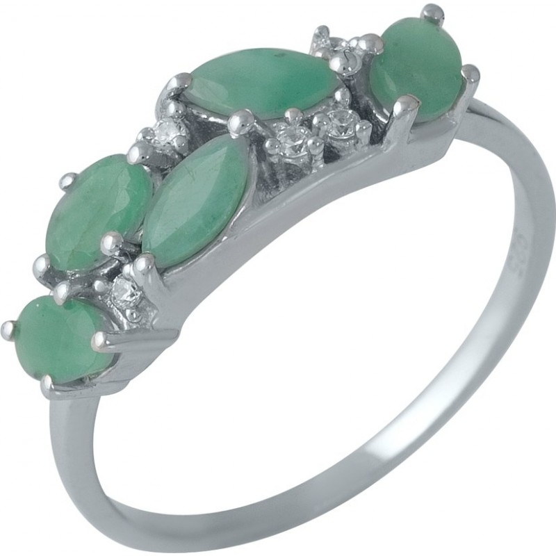 Серебряное кольцо SilverBreeze с натуральным изумрудом 1.133ct (1988459) 17.5 размер