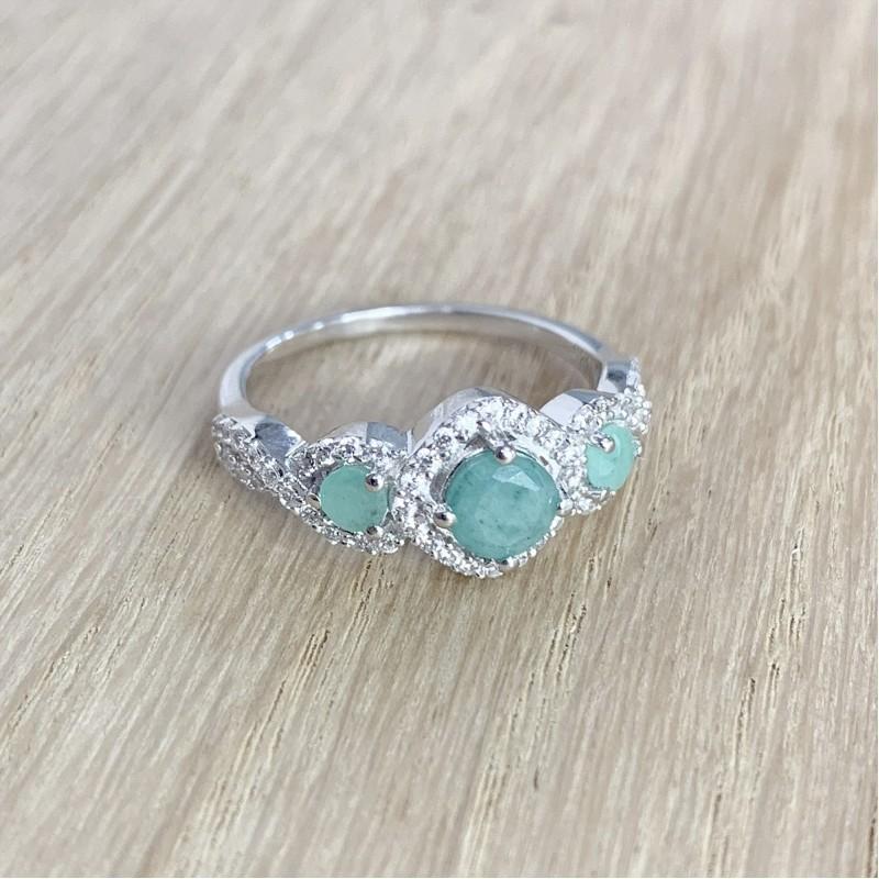 Серебряное кольцо SilverBreeze с натуральным изумрудом 1.227ct (1988442) 18 размер