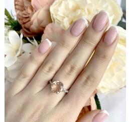 Серебряное кольцо SilverBreeze с морганитом nano (1988305) 18 размер