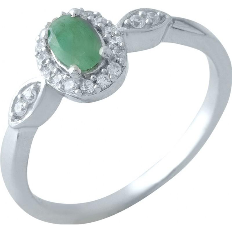 Серебряное кольцо SilverBreeze с натуральным изумрудом 0.738ct (1971932) 18 размер