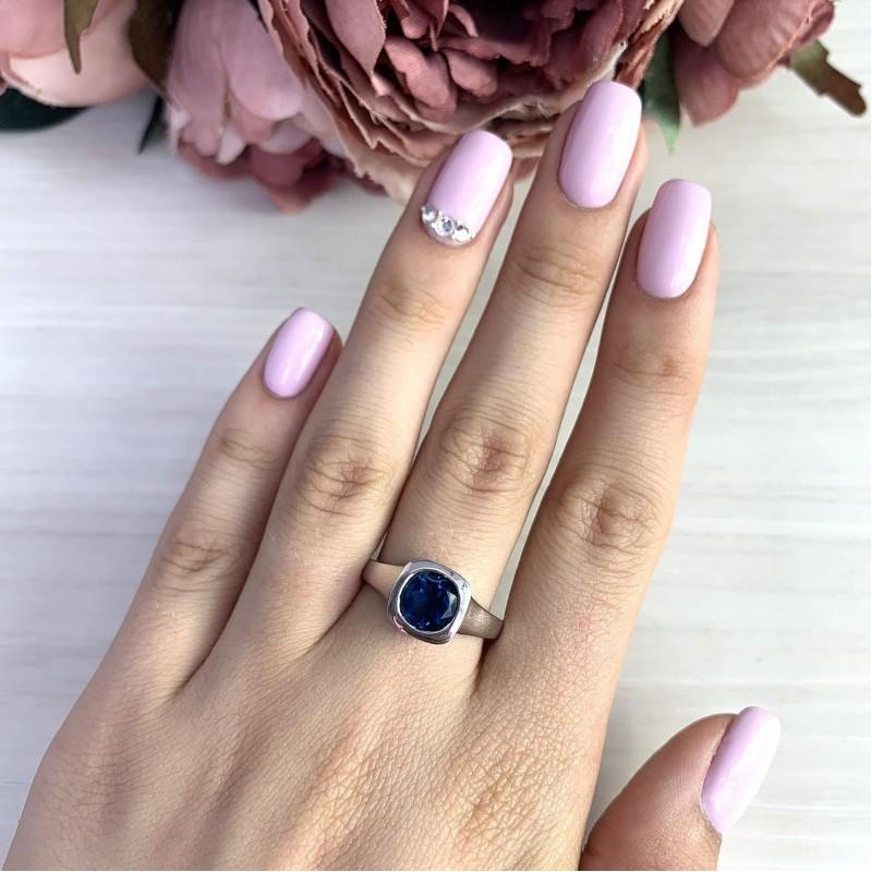Серебряное кольцо SilverBreeze с натуральным топазом Лондон Блю (1970539) 17 размер