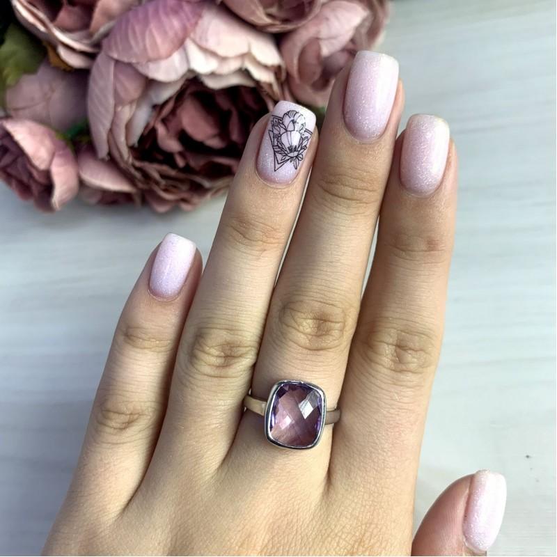Серебряное кольцо SilverBreeze с натуральным аметистом 4.68ct (1970058) 18 размер