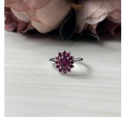 Серебряное кольцо SilverBreeze с натуральным рубином (1968109) 17.5 размер