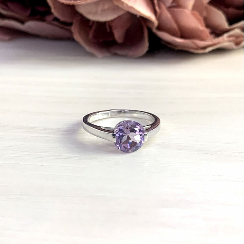 Серебряное кольцо SilverBreeze с натуральным аметистом 1.88ct (1965962) 18 размер