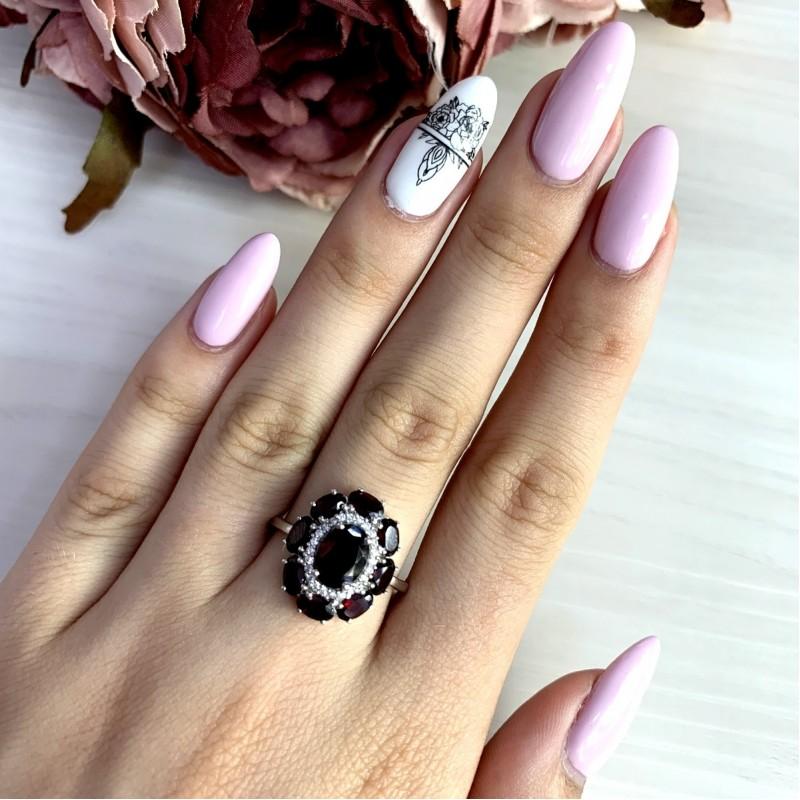 Серебряное кольцо SilverBreeze с натуральным гранатом 4.133ct (1965610) 17.5 размер