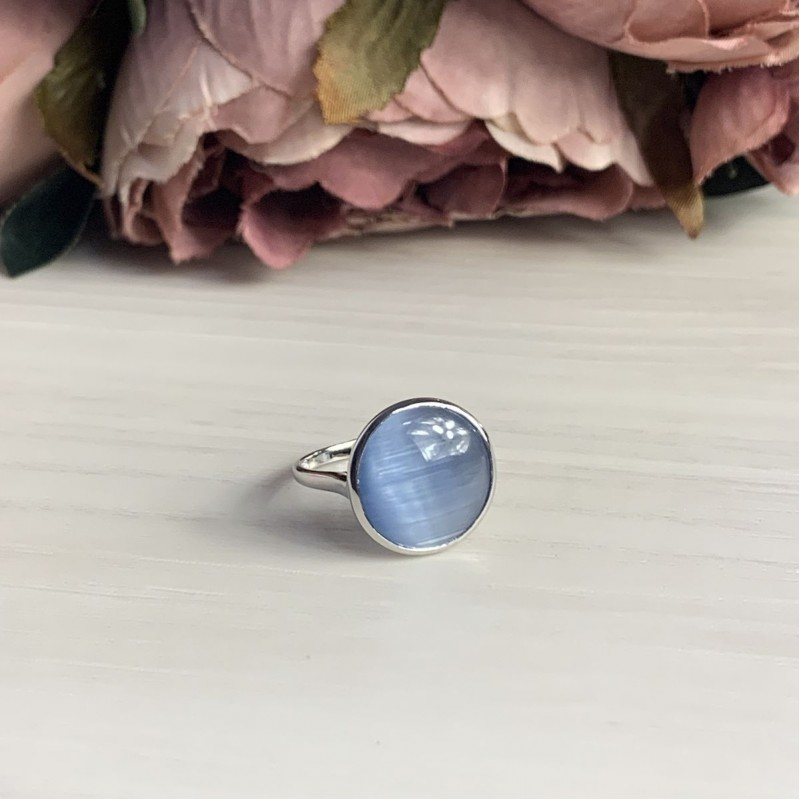 Серебряное кольцо SilverBreeze с кошачим глазом (1955444) 17.5 размер
