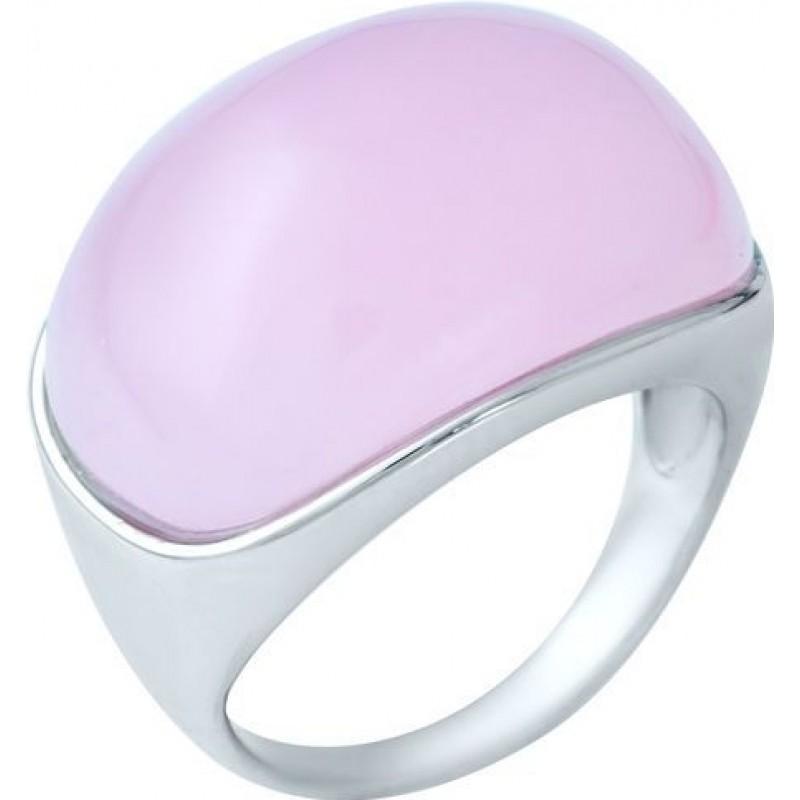 Серебряное кольцо SilverBreeze с натуральным розовым кварцем (1944882) 17.5 размер