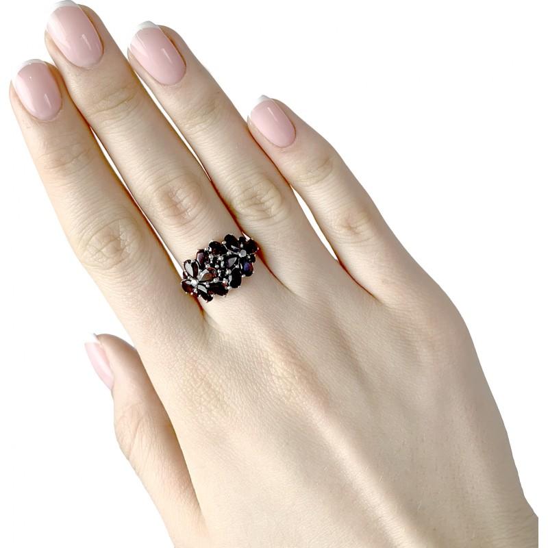 Серебряное кольцо SilverBreeze с натуральным гранатом 3.442ct (1932759) 19 размер