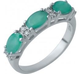 Серебряное кольцо SilverBreeze с натуральным изумрудом (1929667) 17 размер