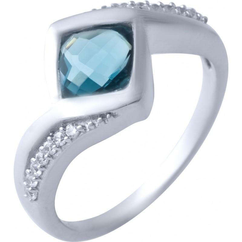 Серебряное кольцо SilverBreeze с натуральным топазом Лондон Блю (1917251) 16.5 размер