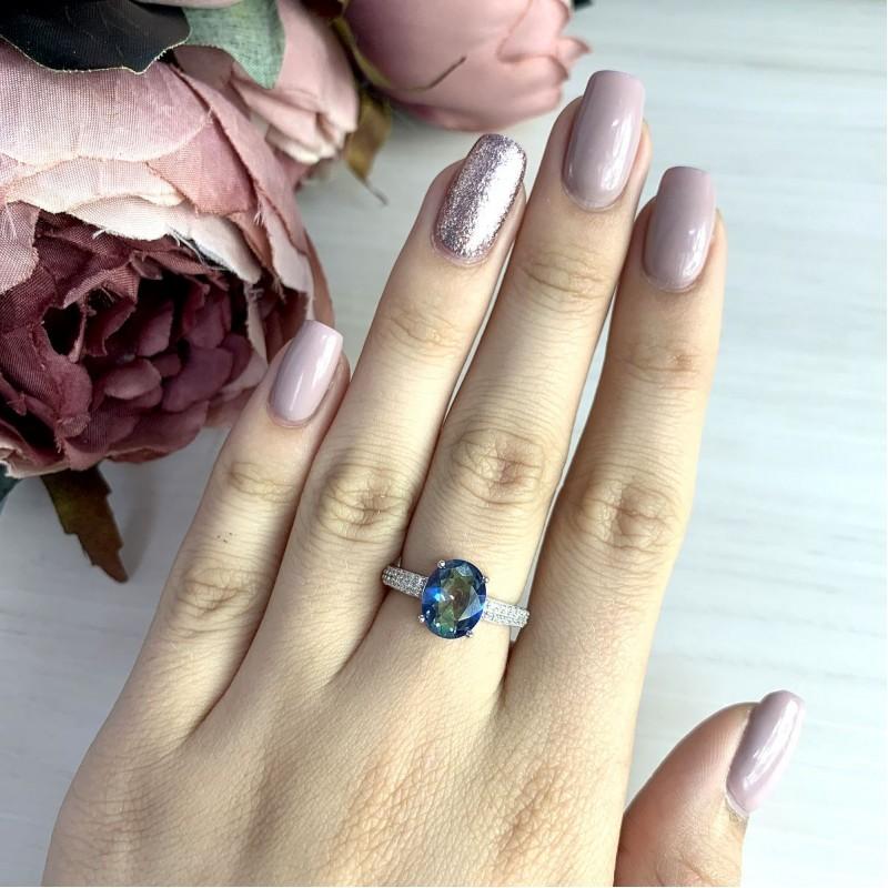 Серебряное кольцо SilverBreeze с натуральным мистик топазом 2.277ct (1913178) 19 размер