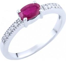 Серебряное кольцо SilverBreeze с натуральным рубином (1763087) 16 размер