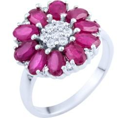 Серебряное кольцо SilverBreeze с натуральным рубином 3.93ct (1762974) 17.5 размер