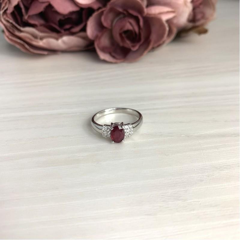 Серебряное кольцо SilverBreeze с натуральным рубином 1.215ct (1734384) 18 размер