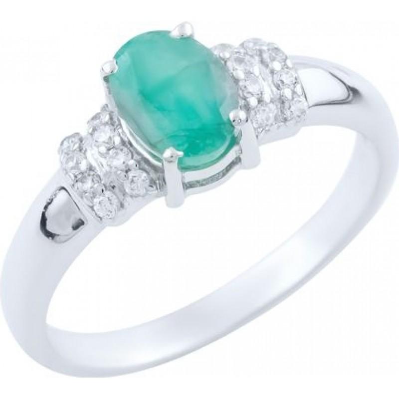 Серебряное кольцо SilverBreeze с натуральным изумрудом 0.971ct (1663806) 18 размер