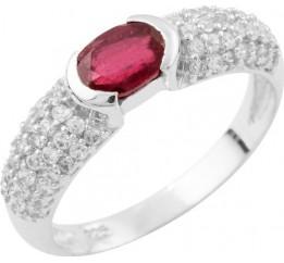 Серебряное кольцо SilverBreeze с натуральным рубином (1648513) 17 размер